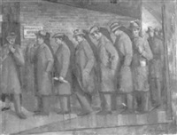 men in an unemployment line by robert rukavina
