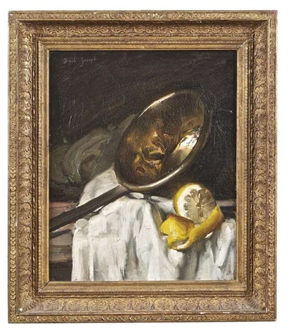 still life with copper pan and lemon by joseph bail