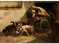 aufbruch mit hundewagen by henriette ronner-knip