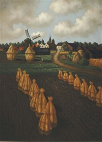 landscape with haystacks and a village in the distance by toon van den muysenberg