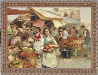 an italian market scene by giuseppe pitto