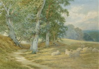 herding sheep along a surrey lane in autumn (+ another; pair) by charles james adams