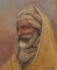portrait d'oriental au turban blanc by louis granata