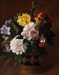 vase with rhododendrons by charles frederick hurten