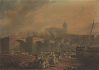 lancaster seen from the old bridge over the river lore, parish church and old castle on the far side, evening by edward dayes