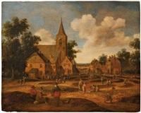 scène de village avec paysans et villageois sur la place de l'église by cornelis droochsloot