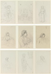 eastern maiden, study (+ 8 others; 9 works in 3 frames) by camille rogier