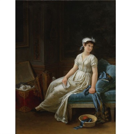 seated woman reading a letter by marguerite gérard