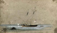 cricket match in salara, italy (+ a r.y.s. yacht at anchor, smllr; 2 works) by george bryant campion