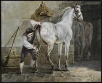 knecht beim striegeln eines schimmels im stall by joseph simon volmar