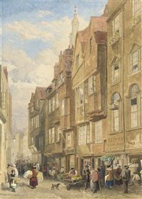 street vendors on wych street off the strand, london by john wykeham archer
