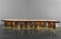 unique monumental illuminated conference table, designed for the temporary offices of chiat/day advertising co., venice, california by frank gehry