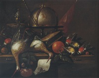still life of a globe, a candlestick, birds, hour glass, nuts, an orange and a rose, arranged upon a wooden table top by petrus schotanus