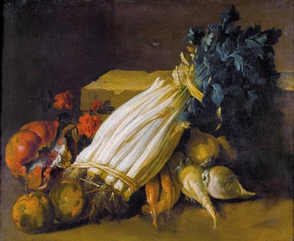 stillleben mit gemüse und granatapfel by jean baptiste siméon chardin