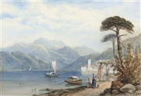 austrian lake scene (+ another; 2 works) by henry gastineau