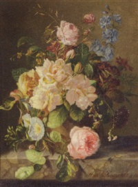 a still life with roses, primulas and morning glory by amalie kaercher
