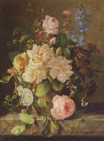 a still life with roses primulas and morning glory by amalie kaercher
