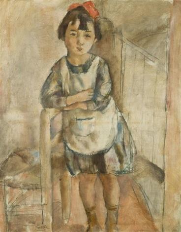 fillette appuyée sur une chaise by jules pascin