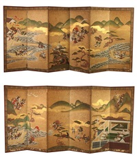 battle of sekigahara and the osaka winter and summer campaigns (pair of six-fold screens) by anonymous-japanese (edo period)