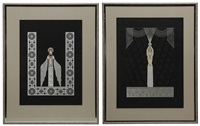 two embossed serigraphs: byzantine by erté