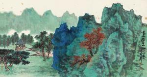 云山秋色 landscape by xie zhiliu