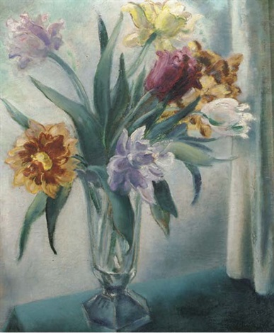 A Still Life With Tulips In Glass Vase By Mommie Schwarz