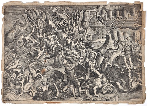 the trojans repulsing the greeks as far as their ships after giulio romano by giovanni battista ghisi