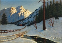 paysage de neige by mikhail markianovich germanshev