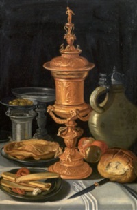 natura morta con vaso in metallo sbalzato by clara peeters