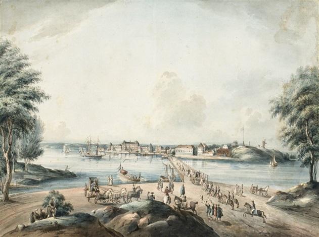 kungl lust slottet drottningholm from svenska vuer by johan fredrik martin