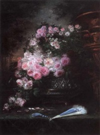 still life with roses and a blue fan by albert tibule furcy de lavault