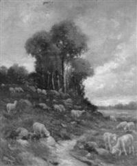 landschaft mit weidender schafherde by albin (ph.) de buncey
