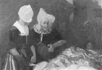 bretoninnen auf dem fischmarkt by jacques-marie omer camoreyt