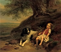 a boy resting with his dog, in a landscape by louisa de koningh