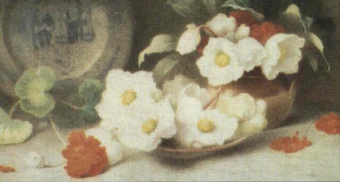 still life of roses and geraniums by annie mary youngman