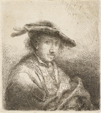 junger mann mit federgeschmücktem hut by ferdinand bol