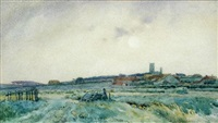 blakeney church from cley, norfolk by frederick george cotman