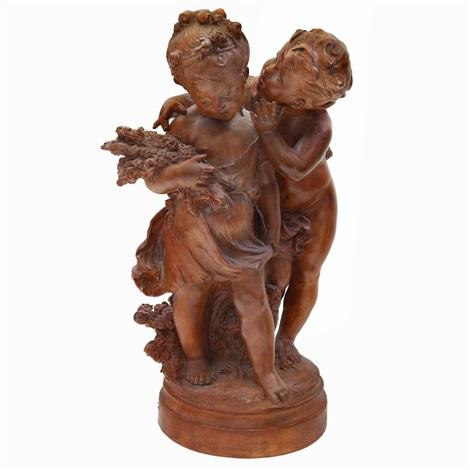 two cherubs by auguste louis mathurin moreau