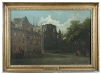 london, the east end of westminster abbey with henry vii's chapel seen from old palace yard by william marlow