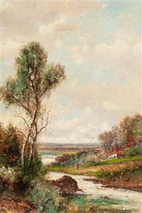 strolling alongside the river bank by abraham hulk the younger