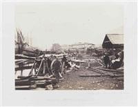 (guerre de crimée). landing place, railway stores, balaklava by roger fenton