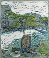 iceland: man stood on a rock by billy childish