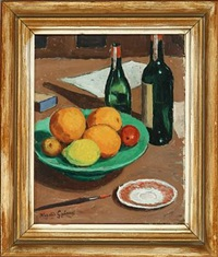 still life with fruit and bottles by herdis gelardi