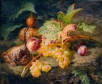 stillleben mit weintrauben, pfirsich und brot by simon saint-jean