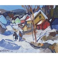 village in winter by pierre aslanian
