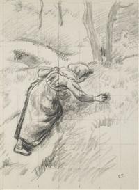 etude pour paysanne ramassant de l'herbe (study) by camille pissarro