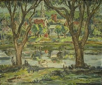 landscape with trees in foreground, riverside village with steepled church in background by sara kolb danner