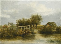 eel trap on the yare at whitlingham and cattle watering by the yare at bramerton, norfolk (pair) by james stark