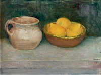 a still life with lemons in a bowl and a jug by jan boon