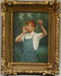 portrait of a redheaded boy holding a frog by hugo a. possner